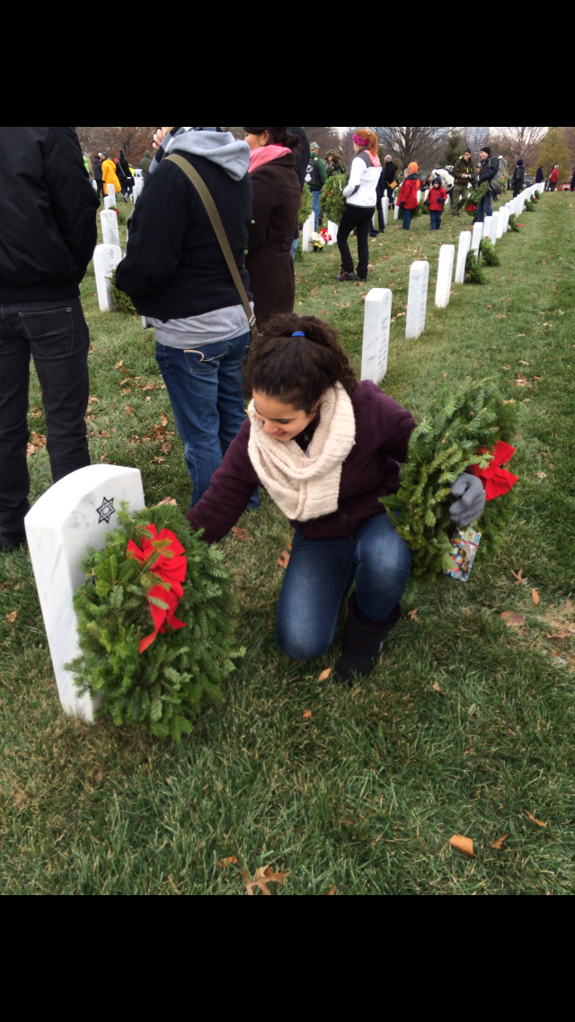 Actual Class Notes – A  Gisla Student Laying a Wreath at Arlington National Cemetery